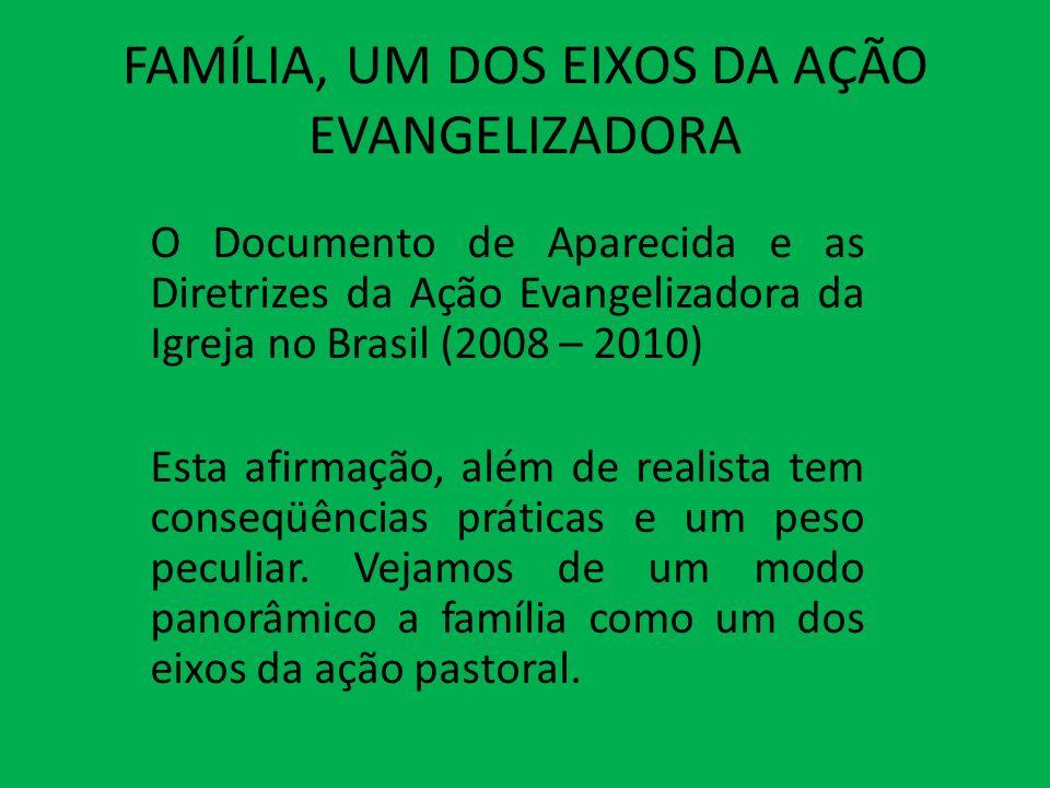 FAMÍLIA, UM DOS EIXOS DA AÇÃO EVANGELIZADORA O Documento de Aparecida e as Diretrizes da Ação Evangelizadora da Igreja no Brasil (2008 – 2010) Esta af