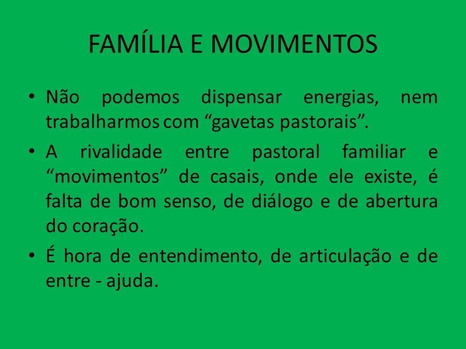 FAMÍLIA E MOVIMENTOS Não podemos dispensar energias, nem trabalharmos com gavetas pastorais. A rivalidade entre pastoral familiar e movimentos de casa