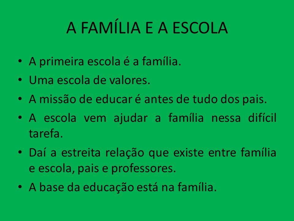 A FAMÍLIA E A ESCOLA A primeira escola é a família. Uma escola de valores. A missão de educar é antes de tudo dos pais. A escola vem ajudar a família