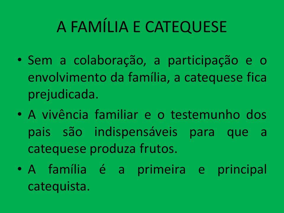 A FAMÍLIA E CATEQUESE Sem a colaboração, a participação e o envolvimento da família, a catequese fica prejudicada. A vivência familiar e o testemunho
