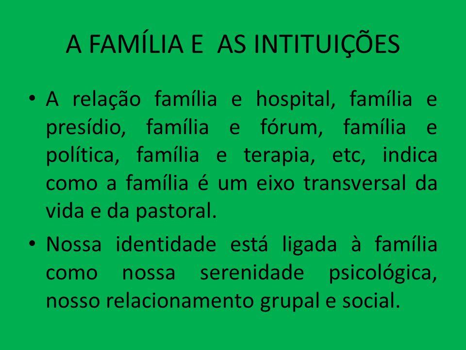 A FAMÍLIA E AS INTITUIÇÕES A relação família e hospital, família e presídio, família e fórum, família e política, família e terapia, etc, indica como