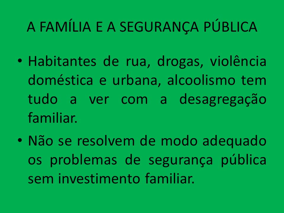 A FAMÍLIA E A SEGURANÇA PÚBLICA Habitantes de rua, drogas, violência doméstica e urbana, alcoolismo tem tudo a ver com a desagregação familiar. Não se