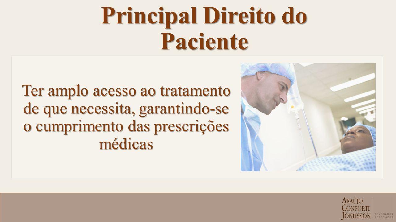 Principal Direito do Paciente Ter amplo acesso ao tratamento de que necessita, garantindo-se o cumprimento das prescrições médicas