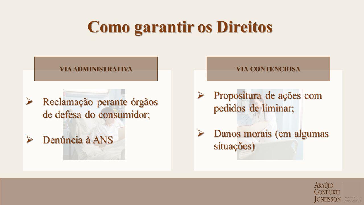 Reclamação perante órgãos de defesa do consumidor; Reclamação perante órgãos de defesa do consumidor; Denúncia à ANS Denúncia à ANS Propositura de açõ