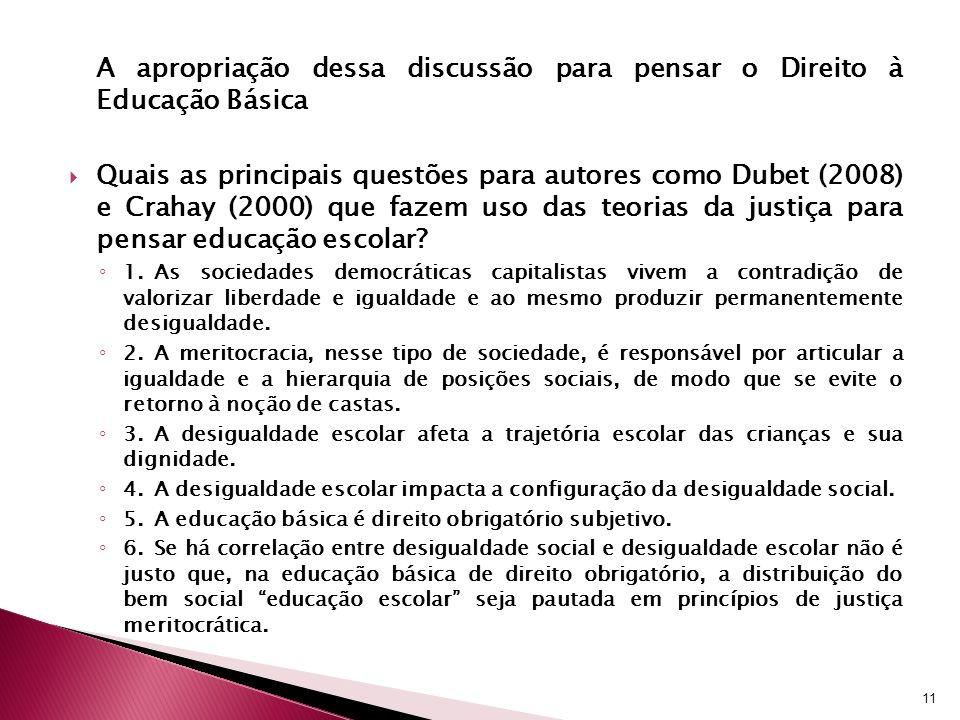 A apropriação dessa discussão para pensar o Direito à Educação Básica Quais as principais questões para autores como Dubet (2008) e Crahay (2000) que fazem uso das teorias da justiça para pensar educação escolar.