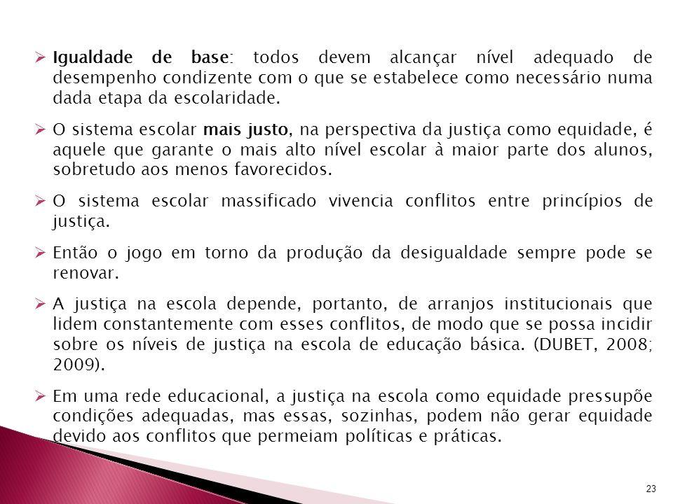 Igualdade de base: todos devem alcançar nível adequado de desempenho condizente com o que se estabelece como necessário numa dada etapa da escolaridad