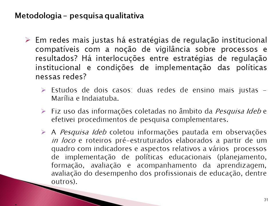 Metodologia – pesquisa qualitativa Em redes mais justas há estratégias de regulação institucional compatíveis com a noção de vigilância sobre processos e resultados.