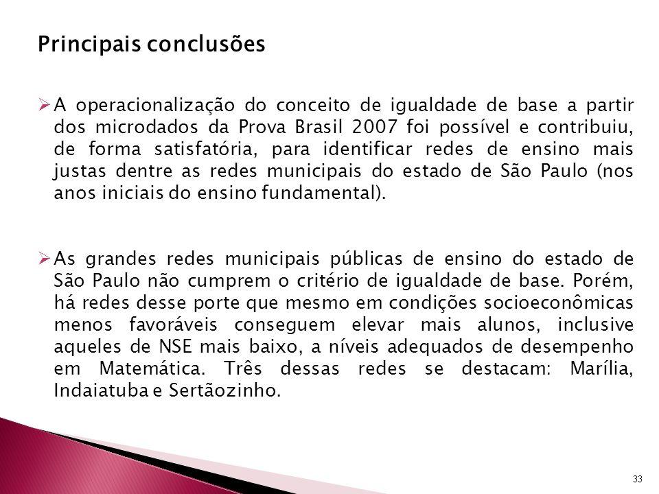 Principais conclusões A operacionalização do conceito de igualdade de base a partir dos microdados da Prova Brasil 2007 foi possível e contribuiu, de