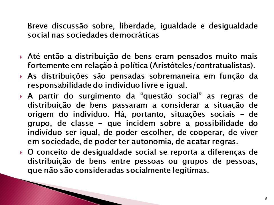 Breve discussão sobre, liberdade, igualdade e desigualdade social nas sociedades democráticas Até então a distribuição de bens eram pensados muito mai