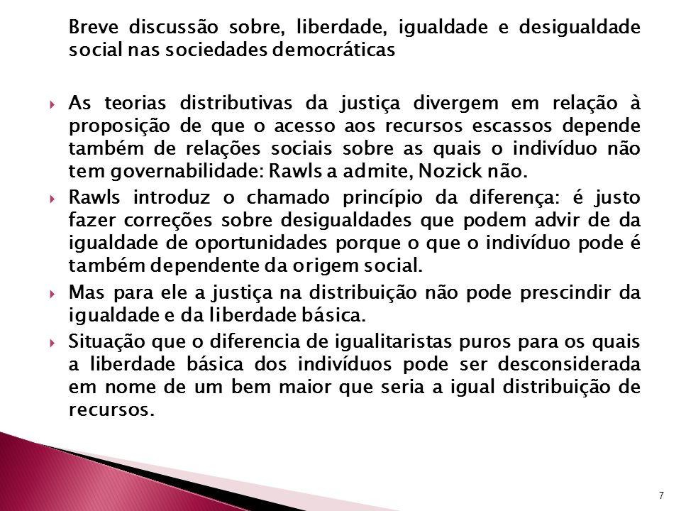 Breve discussão sobre, liberdade, igualdade e desigualdade social nas sociedades democráticas As teorias distributivas da justiça divergem em relação à proposição de que o acesso aos recursos escassos depende também de relações sociais sobre as quais o indivíduo não tem governabilidade: Rawls a admite, Nozick não.