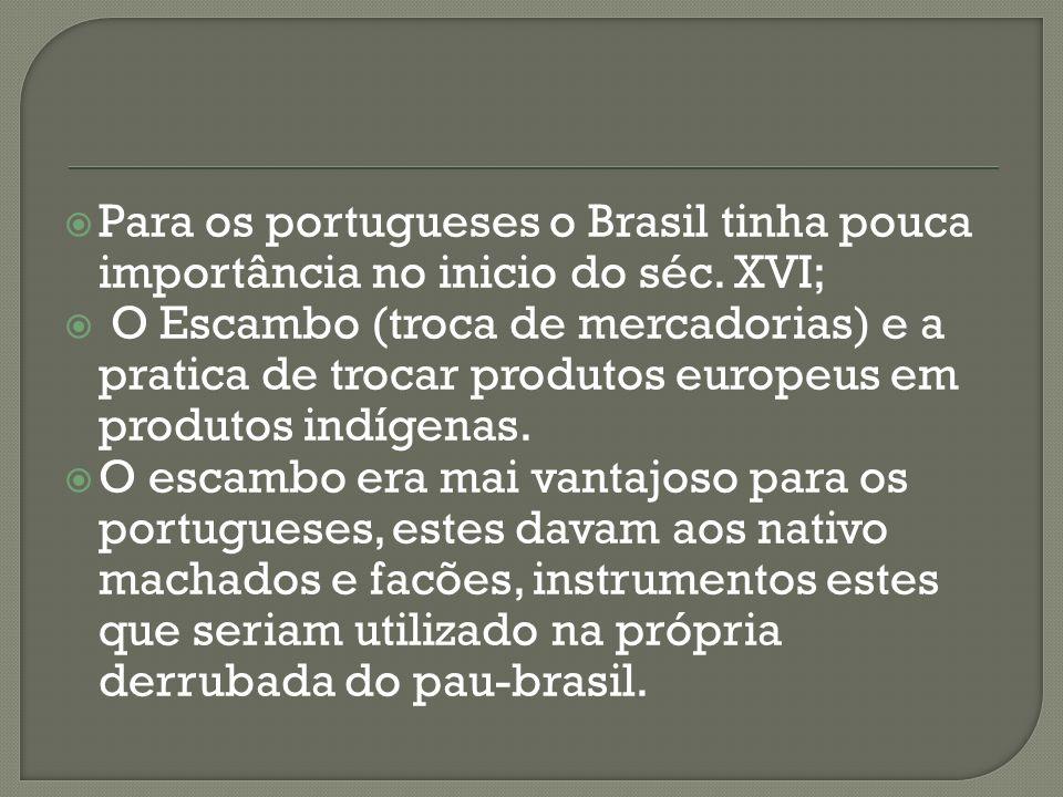 Para os portugueses o Brasil tinha pouca importância no inicio do séc.