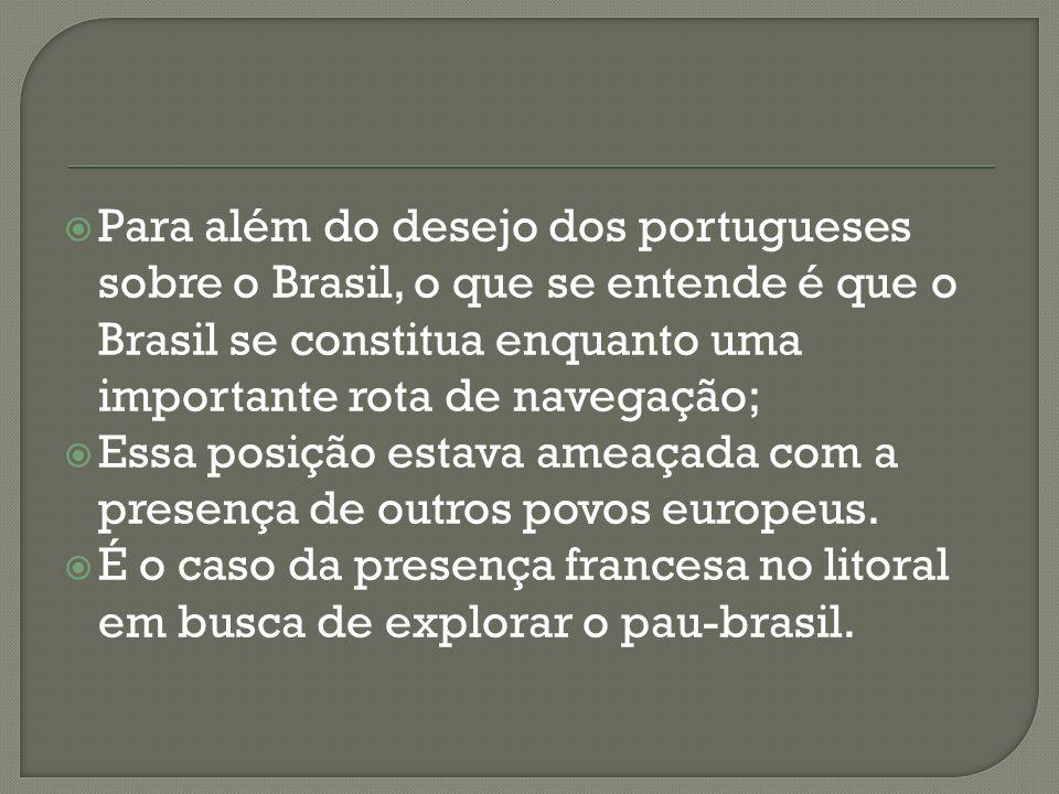 Para além do desejo dos portugueses sobre o Brasil, o que se entende é que o Brasil se constitua enquanto uma importante rota de navegação; Essa posição estava ameaçada com a presença de outros povos europeus.