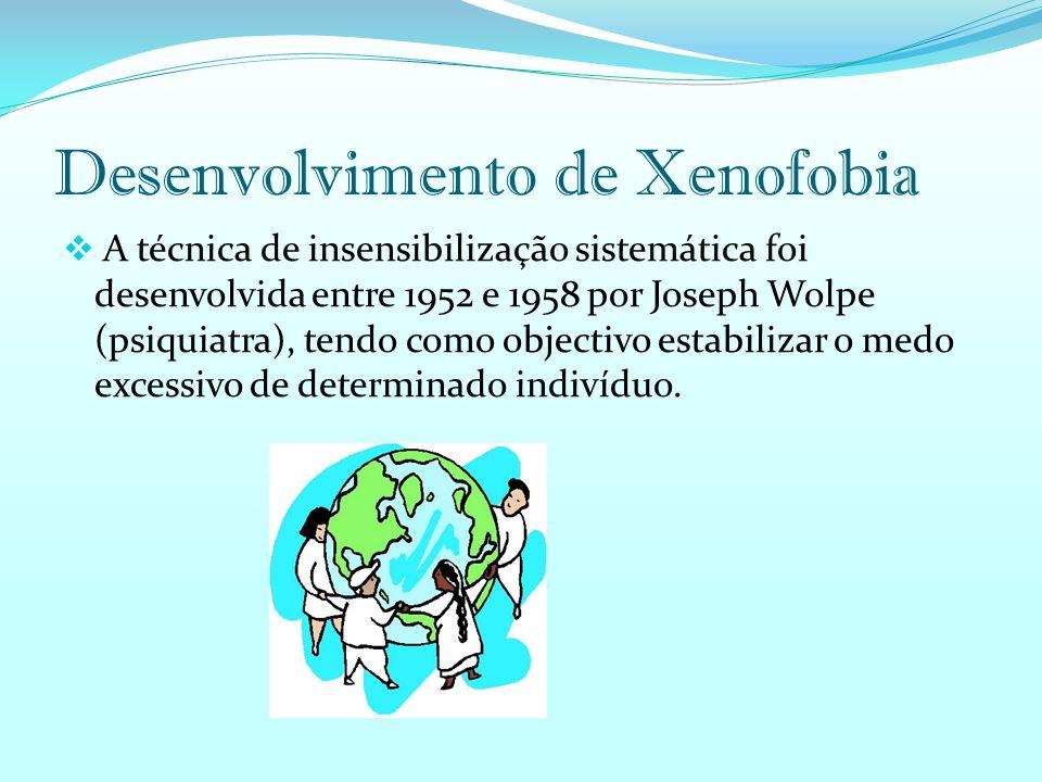 Desenvolvimento de Xenofobia A técnica de insensibilização sistemática foi desenvolvida entre 1952 e 1958 por Joseph Wolpe (psiquiatra), tendo como objectivo estabilizar o medo excessivo de determinado indivíduo.