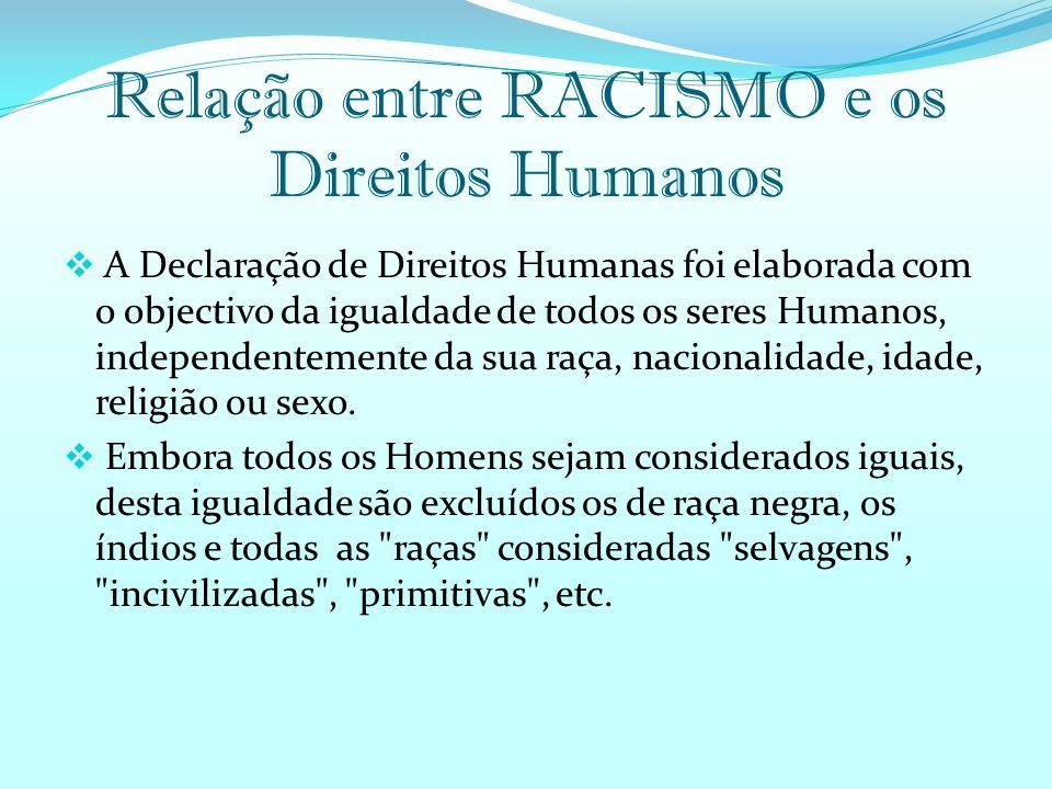 Relação entre RACISMO e os Direitos Humanos A Declaração de Direitos Humanas foi elaborada com o objectivo da igualdade de todos os seres Humanos, independentemente da sua raça, nacionalidade, idade, religião ou sexo.