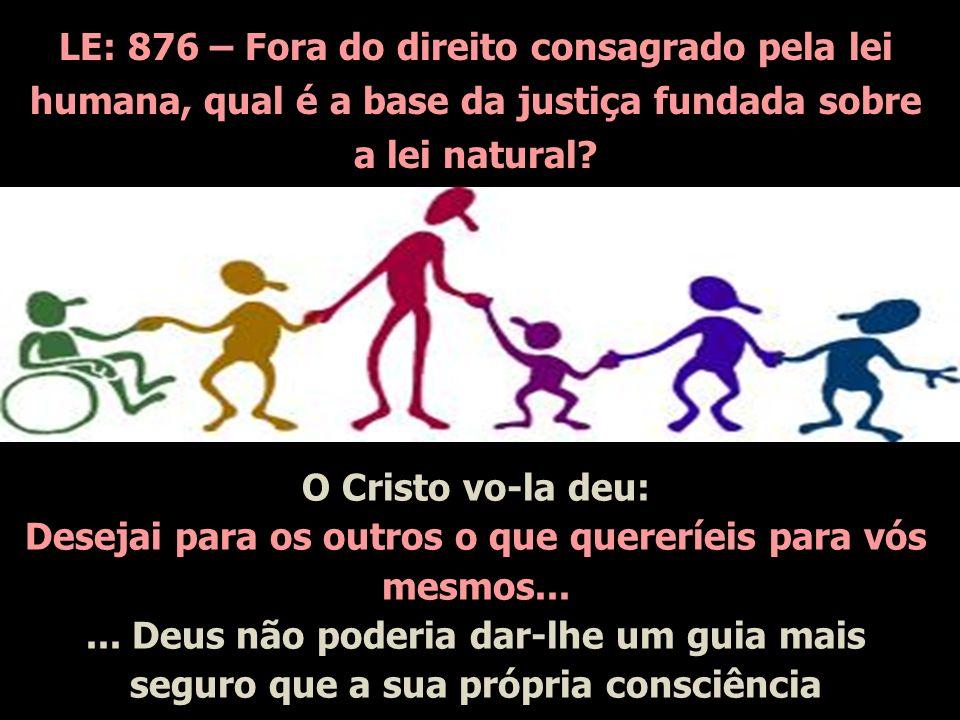 LE: 876 – Fora do direito consagrado pela lei humana, qual é a base da justiça fundada sobre a lei natural? O Cristo vo-la deu: Desejai para os outros