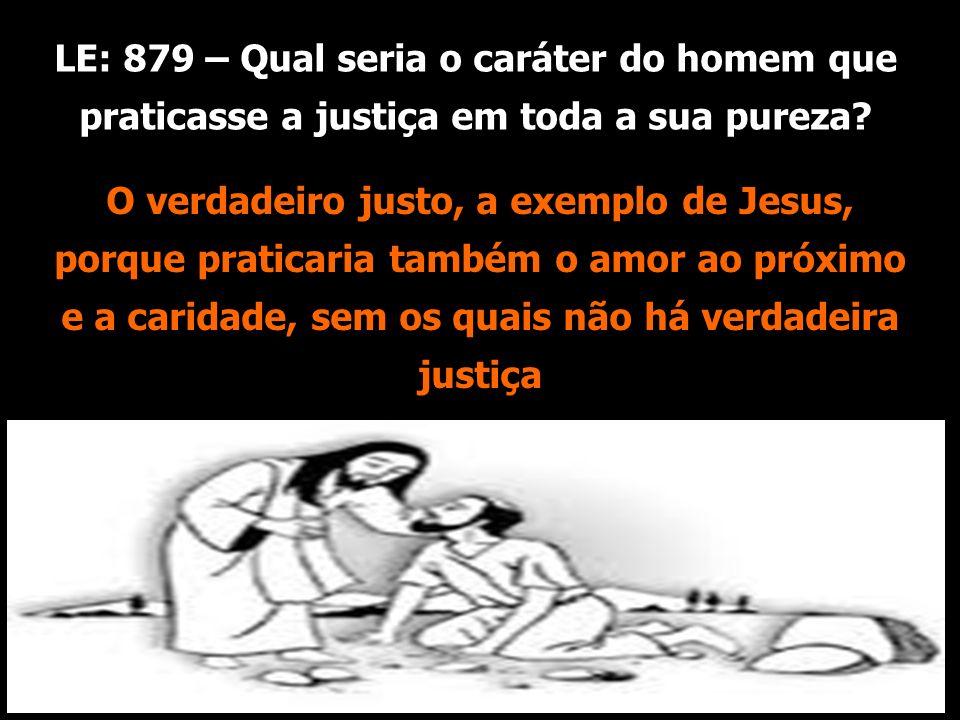 LE: 879 – Qual seria o caráter do homem que praticasse a justiça em toda a sua pureza? amor ao próximo e a caridade, O verdadeiro justo, a exemplo de