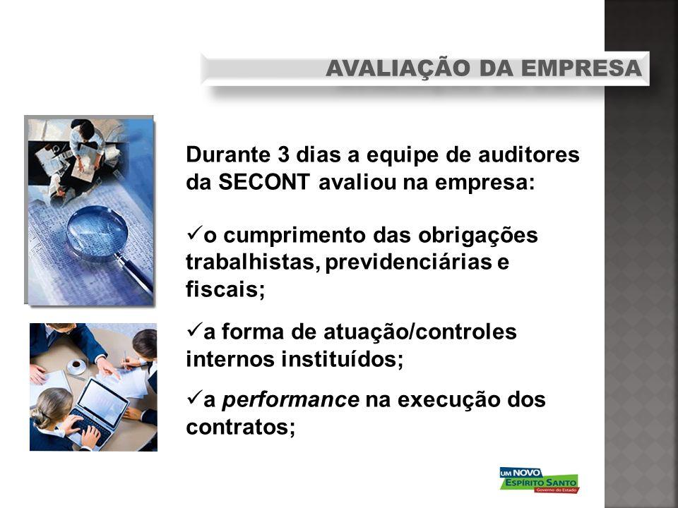 Durante 3 dias a equipe de auditores da SECONT avaliou na empresa: o cumprimento das obrigações trabalhistas, previdenciárias e fiscais; a forma de at