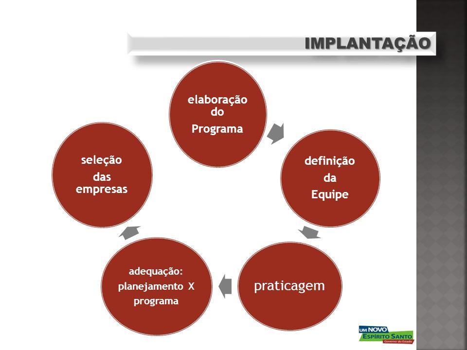 IMPLANTAÇÃOIMPLANTAÇÃO elaboração do Programa definição da Equipe praticagem adequação: planejamento X programa seleção das empresas