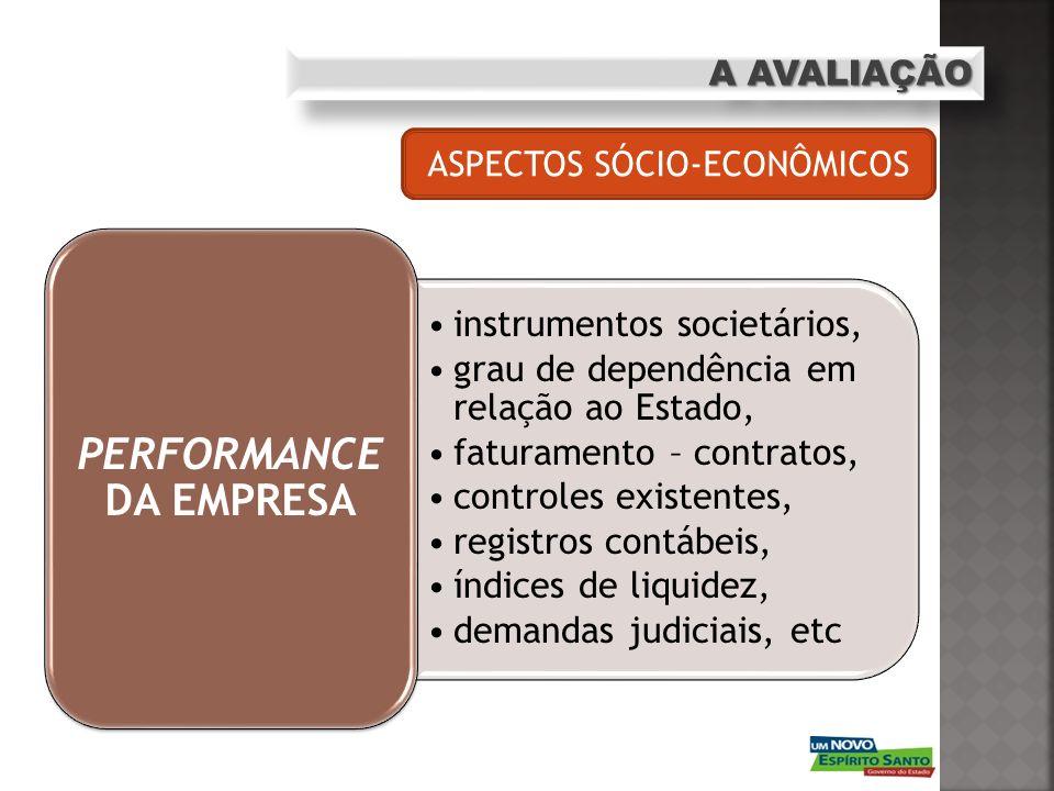 A AVALIAÇÃO instrumentos societários, grau de dependência em relação ao Estado, faturamento – contratos, controles existentes, registros contábeis, ín