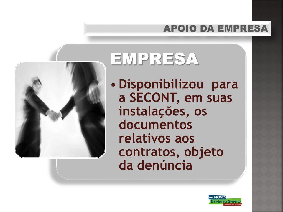 EMPRESA Disponibilizou para a SECONT, em suas instalações, os documentos relativos aos contratos, objeto da denúncia APOIO DA EMPRESA