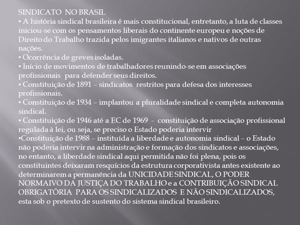 SINDICATO NO BRASIL A história sindical brasileira é mais constitucional, entretanto, a luta de classes iniciou-se com os pensamentos liberais do continente europeu e noções de Direito do Trabalho trazida pelos imigrantes italianos e nativos de outras nações.