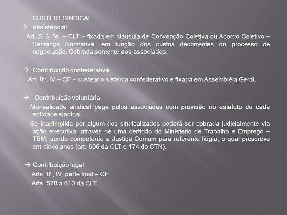 CUSTEIO SINDICAL Assistencial Art.