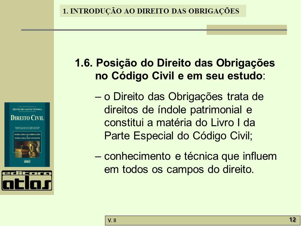 V. II 12 1. INTRODUÇÃO AO DIREITO DAS OBRIGAÇÕES 1.6. Posição do Direito das Obrigações no Código Civil e em seu estudo: – o Direito das Obrigações tr
