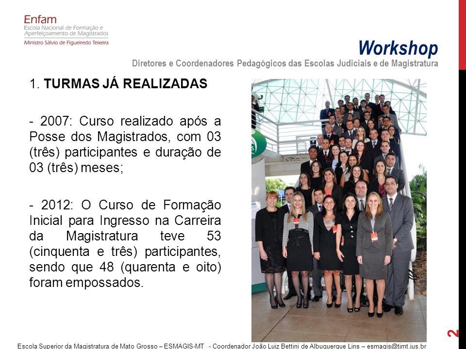 1. TURMAS JÁ REALIZADAS - 2007: Curso realizado após a Posse dos Magistrados, com 03 (três) participantes e duração de 03 (três) meses; - 2012: O Curs