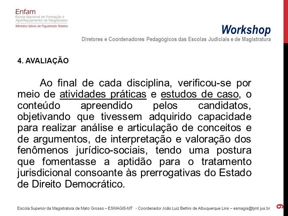 4. AVALIAÇÃO Ao final de cada disciplina, verificou-se por meio de atividades práticas e estudos de caso, o conteúdo apreendido pelos candidatos, obje