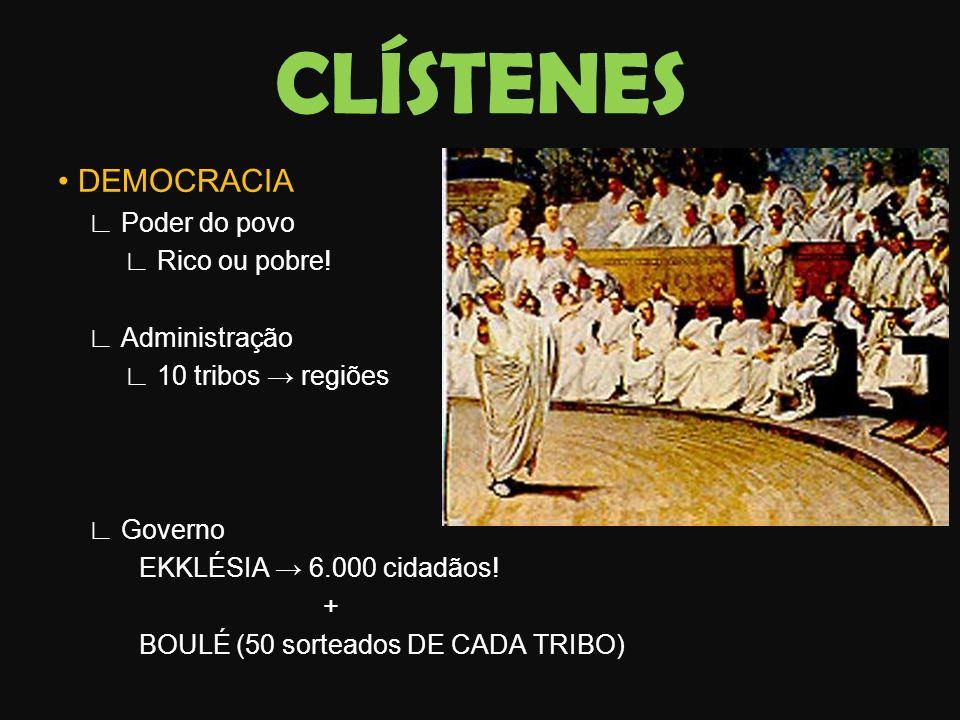 CLÍSTENES DEMOCRACIA Poder do povo Rico ou pobre! Administração 10 tribos regiões Governo EKKLÉSIA 6.000 cidadãos! + BOULÉ (50 sorteados DE CADA TRIBO