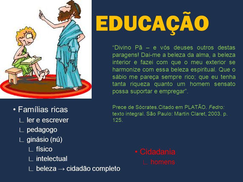 EDUCAÇÃO Famílias ricas ler e escrever pedagogo ginásio (nú) físico intelectual beleza cidadão completo Divino Pã – e vós deuses outros destas paragen