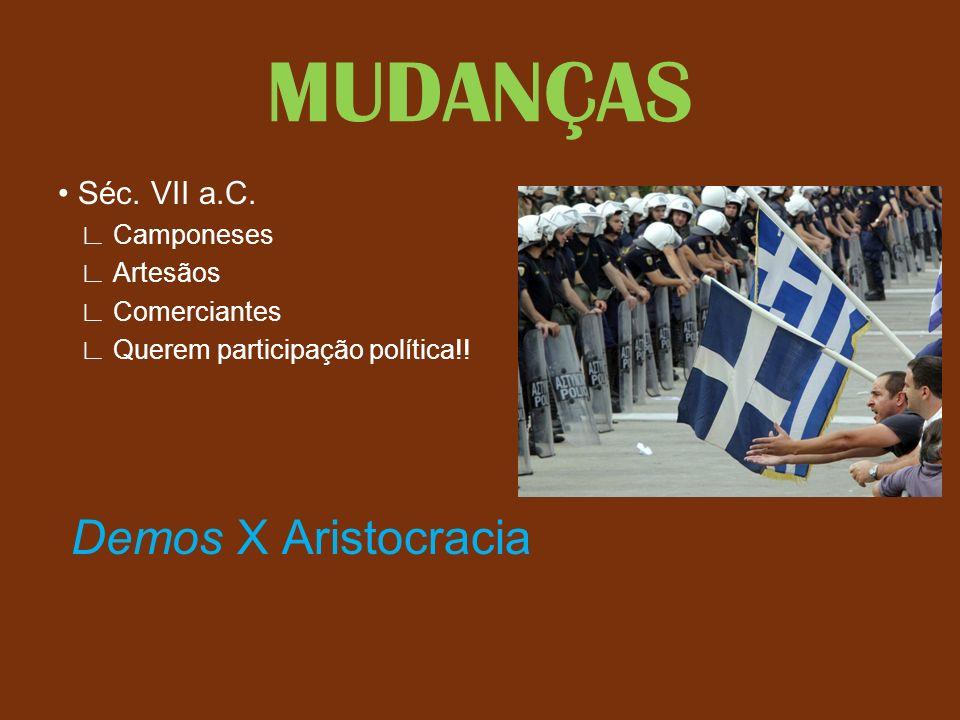 MUDANÇAS Séc. VII a.C. Camponeses Artesãos Comerciantes Querem participação política!! Demos X Aristocracia