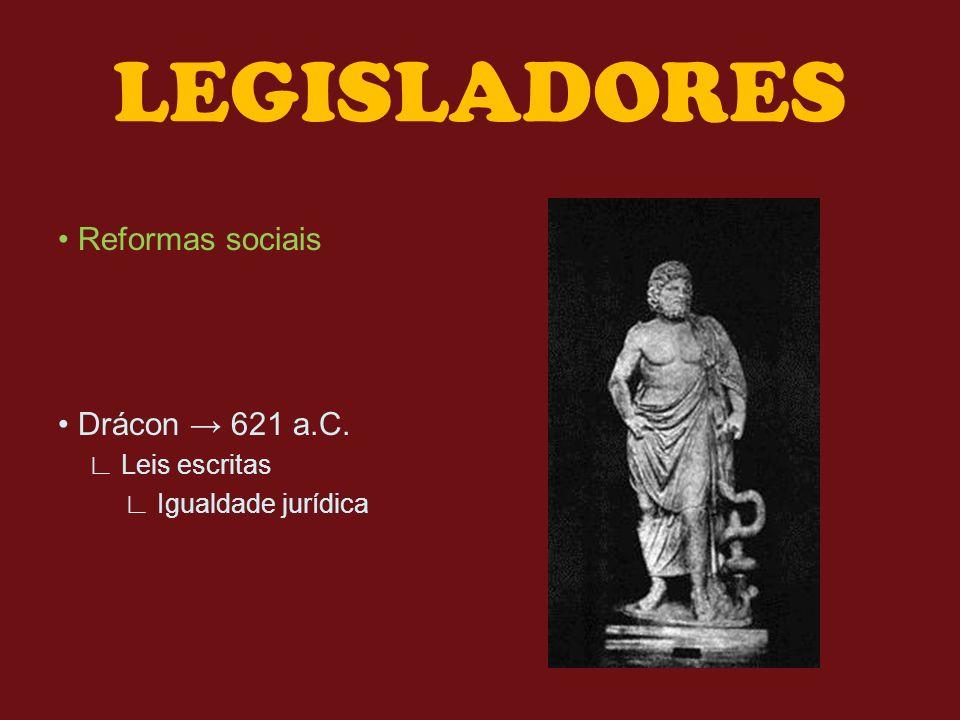 LEGISLADORES Reformas sociais Drácon 621 a.C. Leis escritas Igualdade jurídica