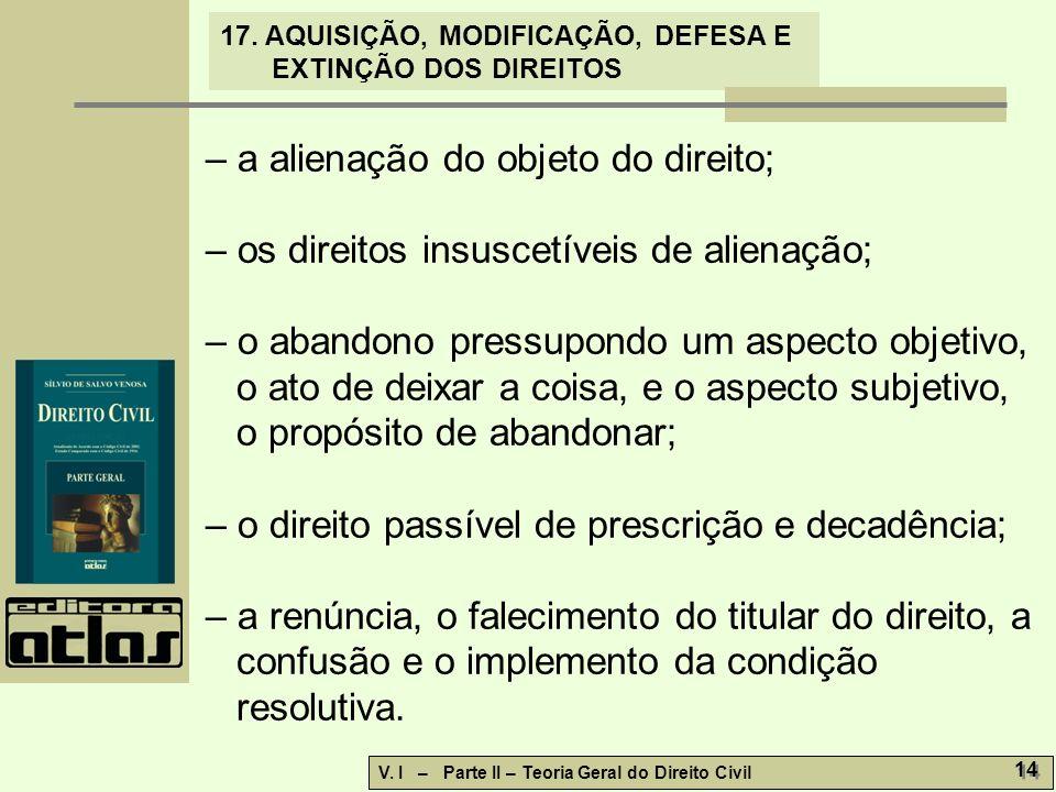 17.AQUISIÇÃO, MODIFICAÇÃO, DEFESA E EXTINÇÃO DOS DIREITOS V.