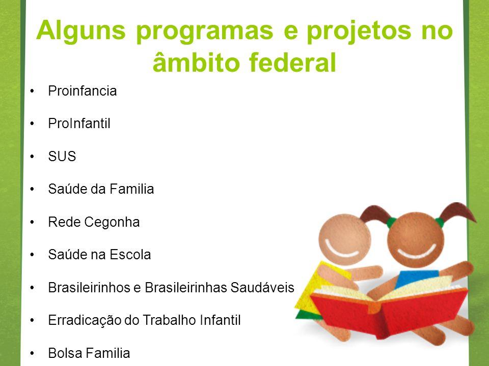 Alguns programas e projetos no âmbito federal Proinfancia ProInfantil SUS Saúde da Familia Rede Cegonha Saúde na Escola Brasileirinhos e Brasileirinha