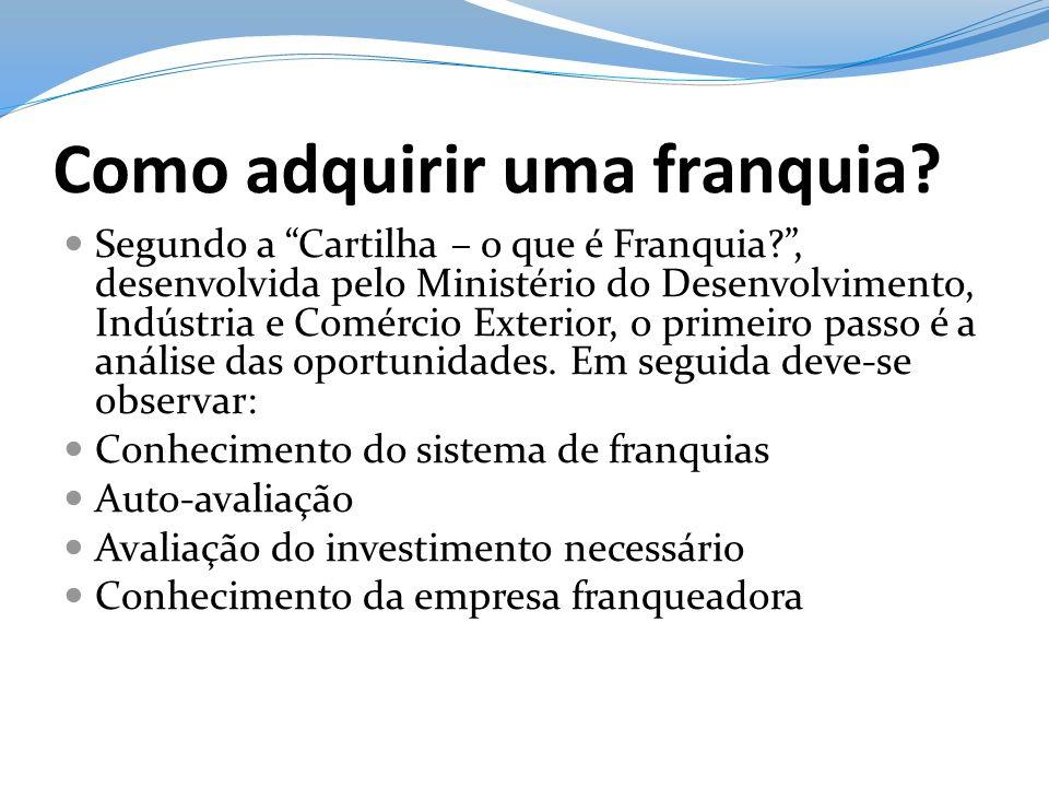 Como adquirir uma franquia? Segundo a Cartilha – o que é Franquia?, desenvolvida pelo Ministério do Desenvolvimento, Indústria e Comércio Exterior, o