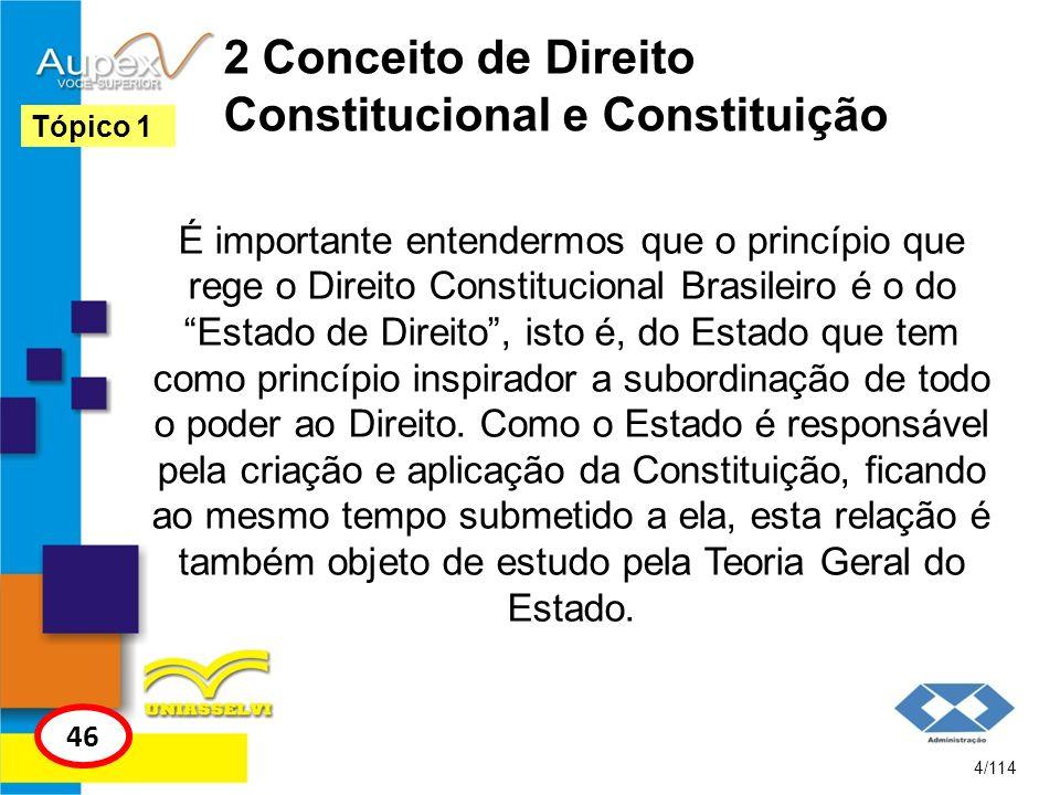 2 Conceito de Direito Constitucional e Constituição É importante entendermos que o princípio que rege o Direito Constitucional Brasileiro é o do Estad