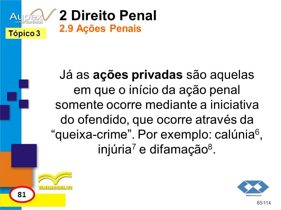 2 Direito Penal 2.9 Ações Penais Já as ações privadas são aquelas em que o início da ação penal somente ocorre mediante a iniciativa do ofendido, que
