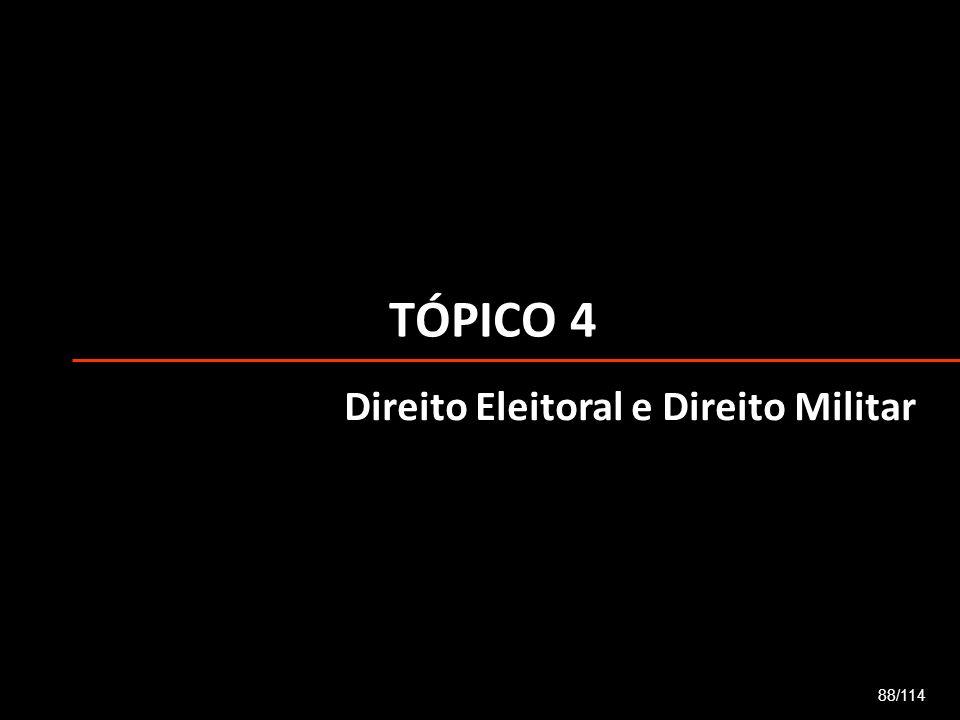 TÓPICO 4 88/114 Direito Eleitoral e Direito Militar