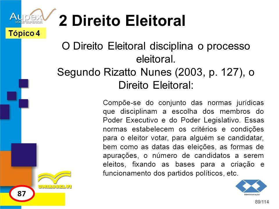 2 Direito Eleitoral O Direito Eleitoral disciplina o processo eleitoral. Segundo Rizatto Nunes (2003, p. 127), o Direito Eleitoral: 89/114 Tópico 4 87