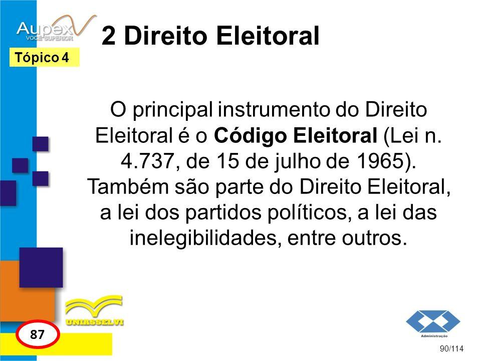 2 Direito Eleitoral O principal instrumento do Direito Eleitoral é o Código Eleitoral (Lei n. 4.737, de 15 de julho de 1965). Também são parte do Dire