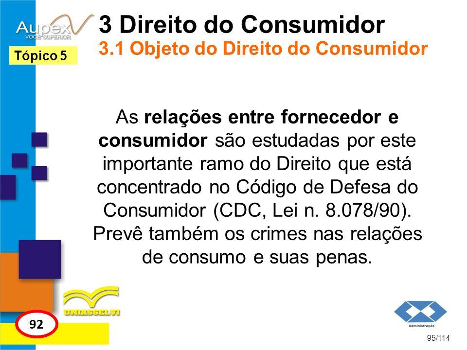 3 Direito do Consumidor 3.1 Objeto do Direito do Consumidor As relações entre fornecedor e consumidor são estudadas por este importante ramo do Direit
