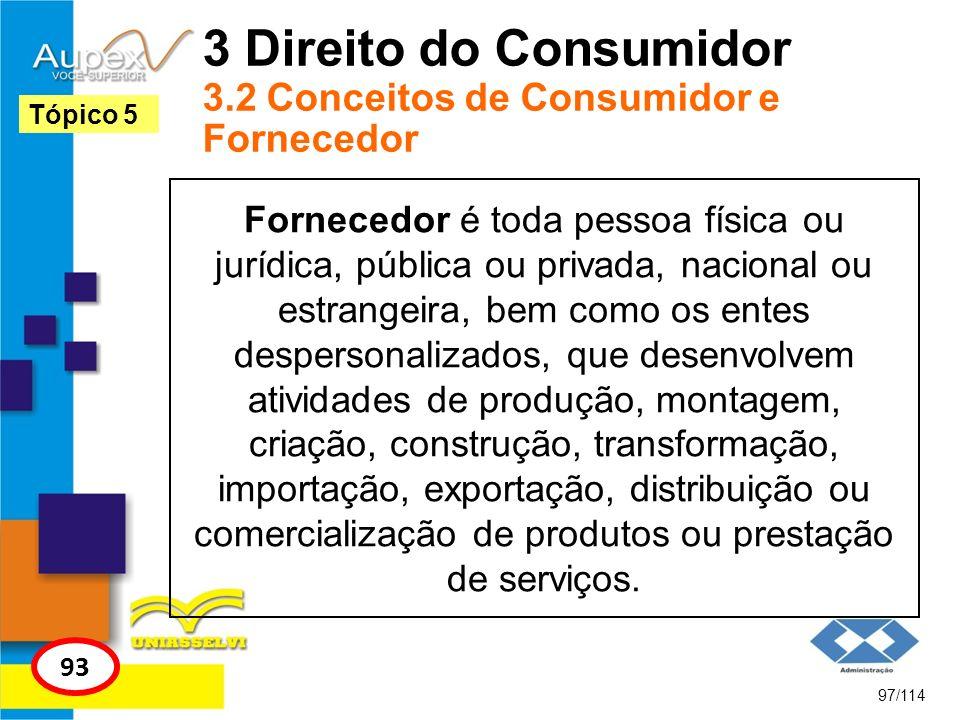 3 Direito do Consumidor 3.2 Conceitos de Consumidor e Fornecedor Fornecedor é toda pessoa física ou jurídica, pública ou privada, nacional ou estrange