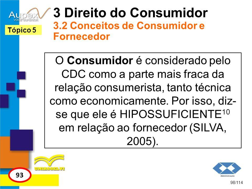 3 Direito do Consumidor 3.2 Conceitos de Consumidor e Fornecedor O Consumidor é considerado pelo CDC como a parte mais fraca da relação consumerista,
