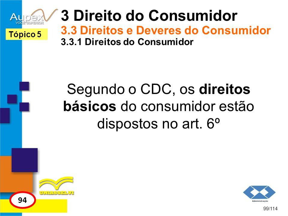 3 Direito do Consumidor 3.3 Direitos e Deveres do Consumidor 3.3.1 Direitos do Consumidor Segundo o CDC, os direitos básicos do consumidor estão dispo