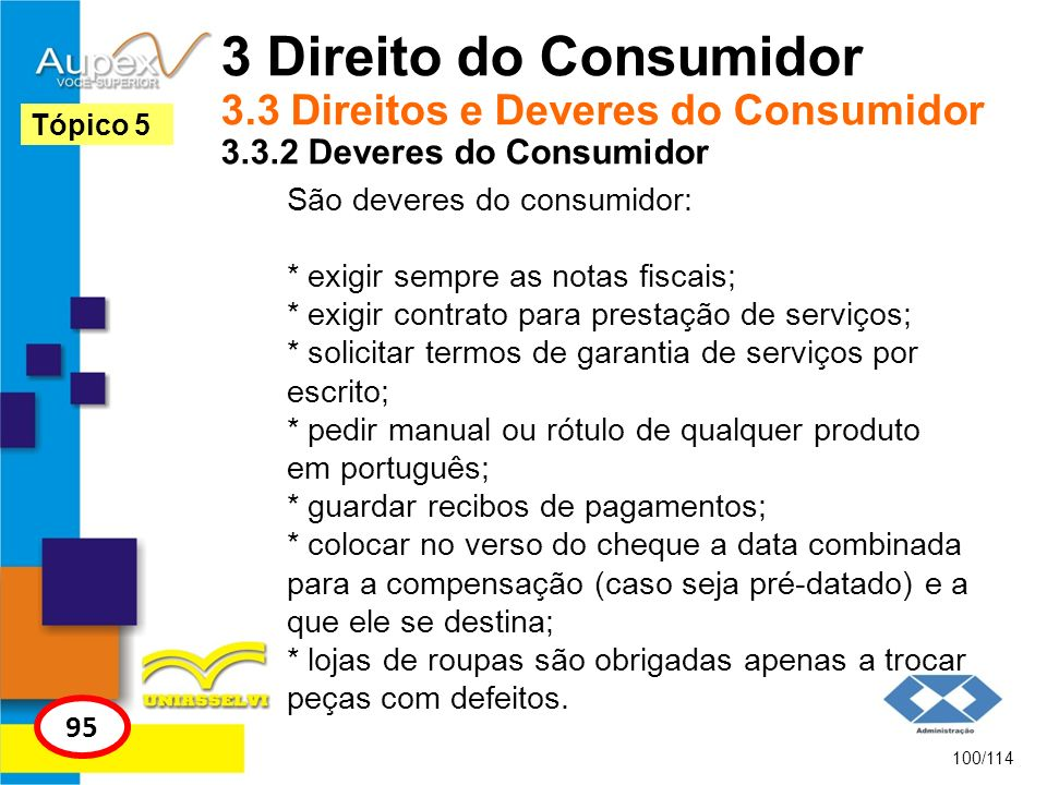 3 Direito do Consumidor 3.3 Direitos e Deveres do Consumidor 3.3.2 Deveres do Consumidor São deveres do consumidor: * exigir sempre as notas fiscais;