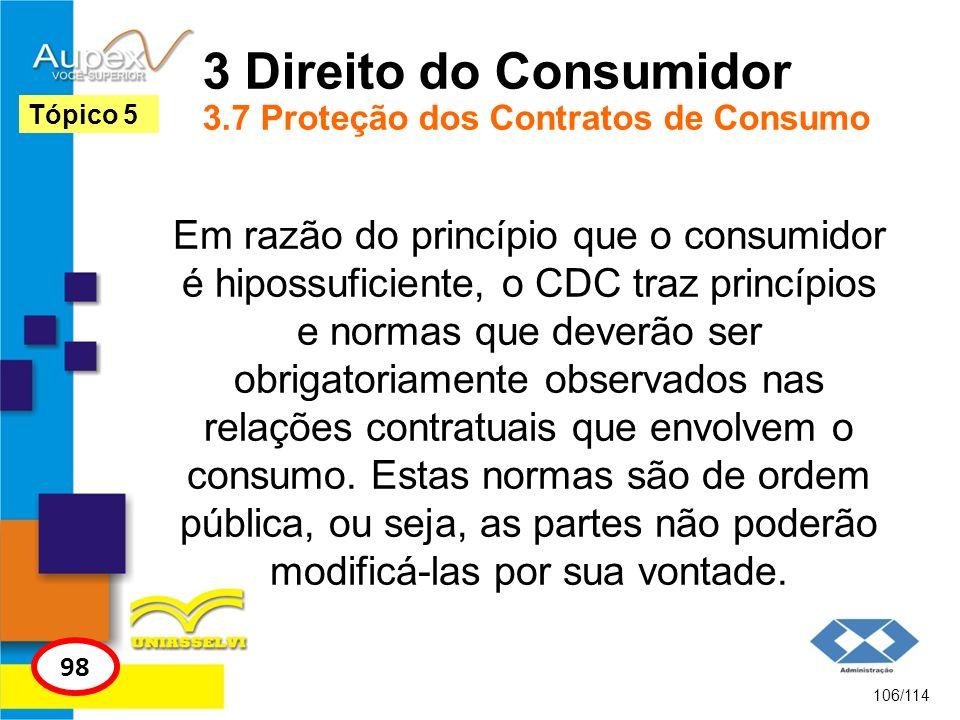3 Direito do Consumidor 3.7 Proteção dos Contratos de Consumo Em razão do princípio que o consumidor é hipossuficiente, o CDC traz princípios e normas