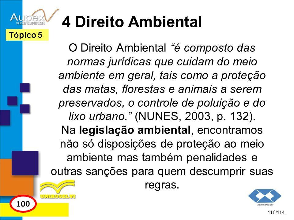 4 Direito Ambiental O Direito Ambiental é composto das normas jurídicas que cuidam do meio ambiente em geral, tais como a proteção das matas, floresta