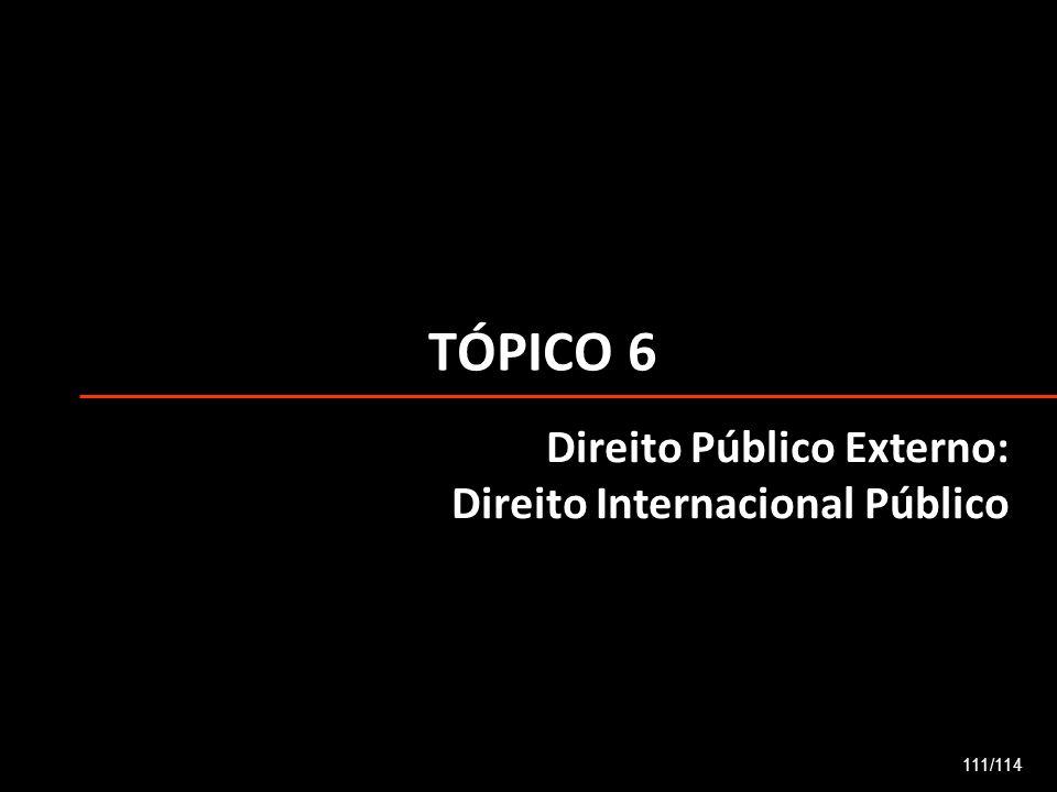 TÓPICO 6 111/114 Direito Público Externo: Direito Internacional Público