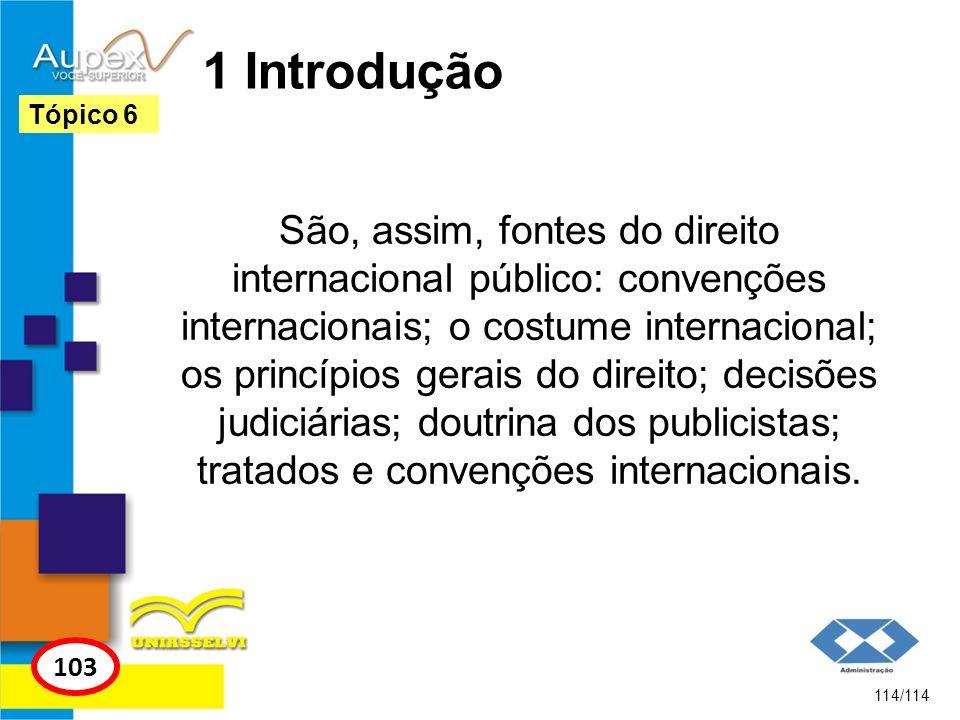 1 Introdução São, assim, fontes do direito internacional público: convenções internacionais; o costume internacional; os princípios gerais do direito;